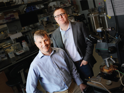 James Hone (left) and Colin Nuckolls, pictured in the Hone Lab.