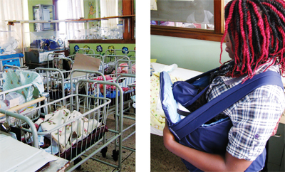 Far left: the Special Care Baby Unit at Mulago Hospital in Kampala, Uganda, where Aaron Kyle and his students have traveled to test their low-cost neonatal care devices. Left: a Ugandan mother using a student-designed neonatal transport unit.