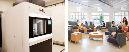 Transmission Electron Microscope; the completed Carleton Commons space.