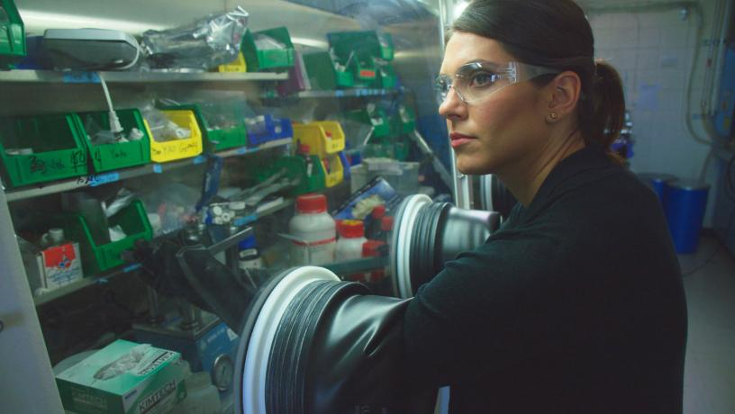 Prof. Lauren Marbella working in her lab as part of the Columbia Electrochemical Energy Center.
