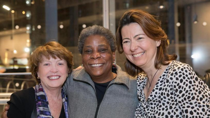 Dean Mary C. Boyce, Ursula Burns, and NYU Tandon Dean Jelena Kovacevic smiling.