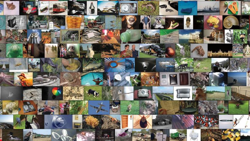 Collage made of hundreds of photos used as unlabeled data by self-training machines.