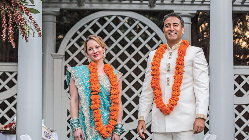 Amish Jhaveri with spouse during their wedding ceremony.