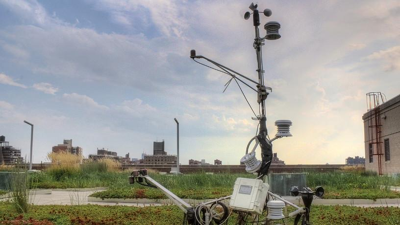 Sensors on a Columbia University Green Roof measuring the impact of initiatives for healthier urban environments.