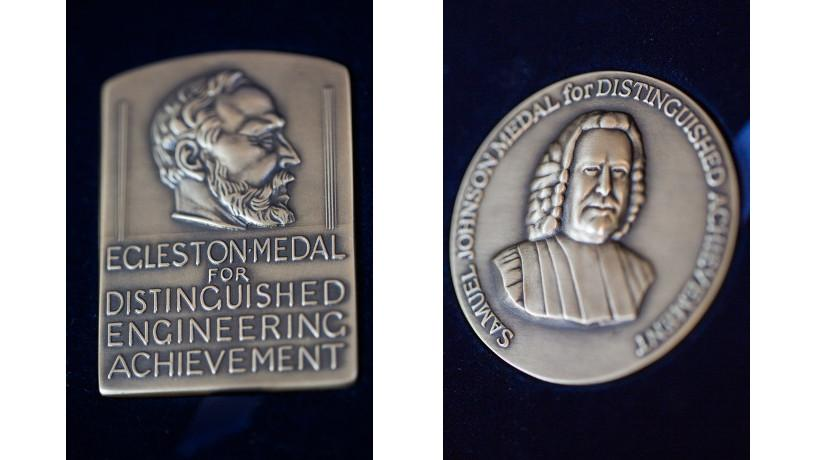 Collage with the Thomas Egleston Medal on the left and the Samuel Johnson Medal on the right.
