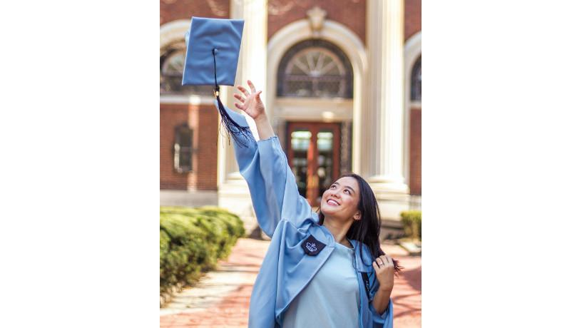 Patricia Dewi celebrating graduation at Morningside campus.