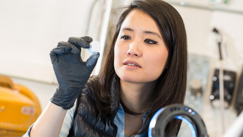 Prof. Shiho Kawashima in her lab working on new manufacturing techniques.