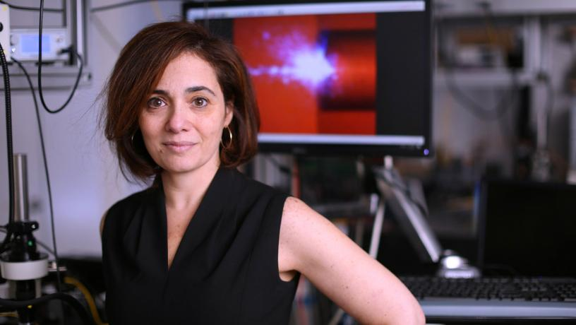 Portrait of Prof. Michal Lipson in her lab.