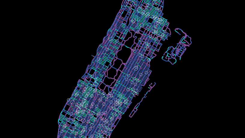 Mapping of dangerous intersections and other obstacles to traffic flow in Manhattan with shades of blue against a black background.