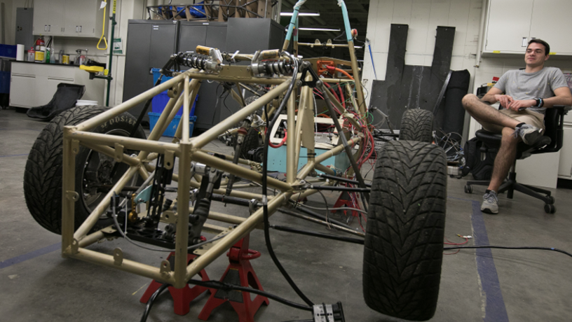 Picture of the EV chassis under construction in the lab.