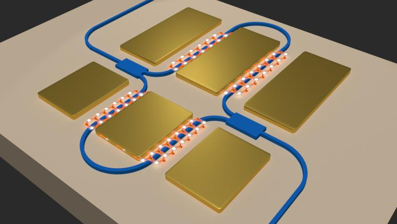 Imaging representation of a photonic circuit with shades of brown, gold and blue.