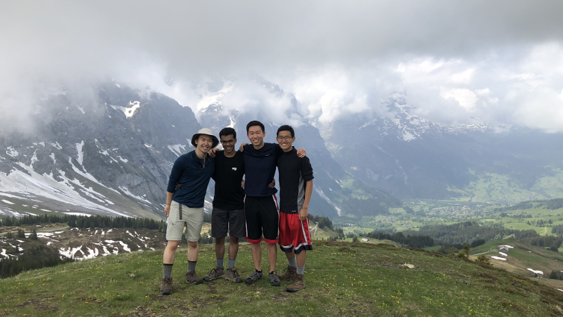 Group picture of Justin Wong and friends in the Swiss alps.