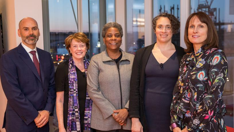 Group picture of Sean Edwards, Dean Mary C. Boyce, Ursula Burns, Donna MacPhee and Janet Paskin.