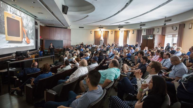 Audience listening to Prof. Hod Lipson during a lecture as part of Alumni Weekend.