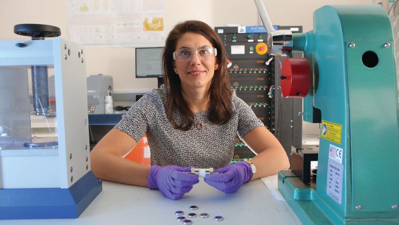 Prof. Lauren Marbella working on electrochemical energy storage in her lab.